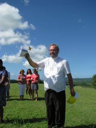 Reverend Rod delivering the benediction at the groundbreaking ceremony.