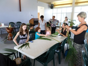 Palm Sunday preparations and potluck