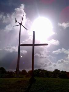 Church cross and windmill