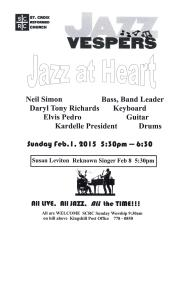 Join us for Jazz Vespers  Feb 1st 5:30pm-6:30pm