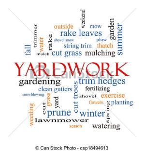 Yardwork Word Cloud Concept with great terms such as cut grass, mow, prune and more.